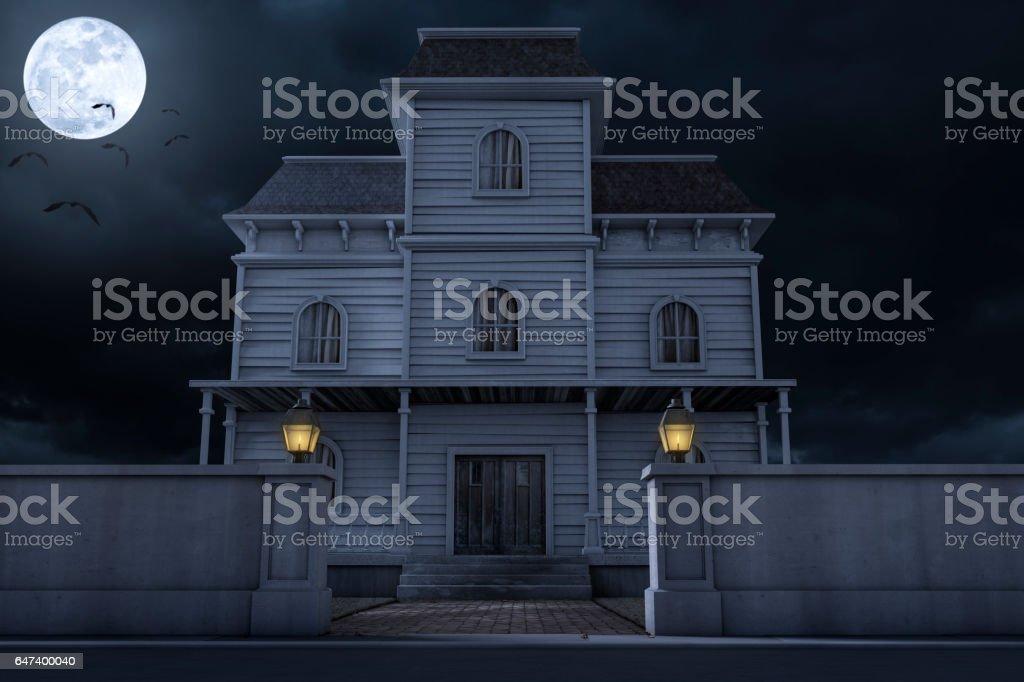 Halloween Haunted House Mansion stock photo