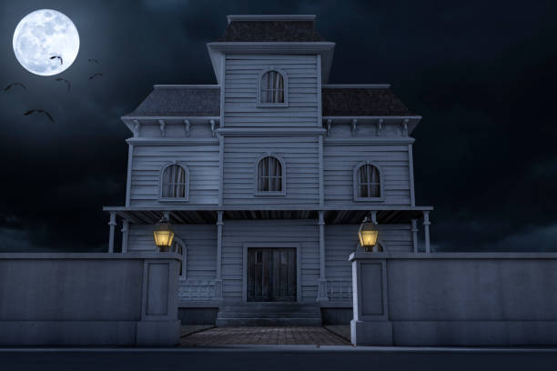 Halloween Haunted House Mansion stock photo