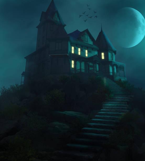 halloween haunted manor na wzgórzu przeciwko księżycowi - upiorny zdjęcia i obrazy z banku zdjęć