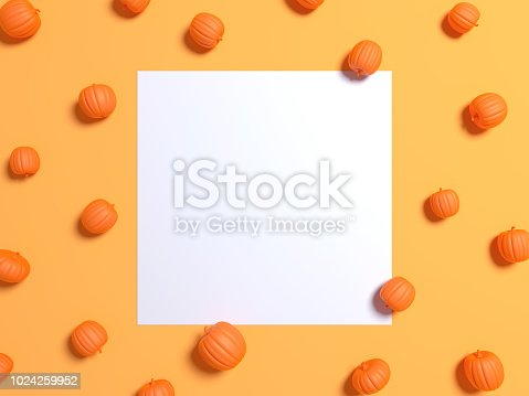 istock Halloween holiday background with glitter pumpkins decor. View from above. Flat lay. White Frame on a yellow background 1024259952