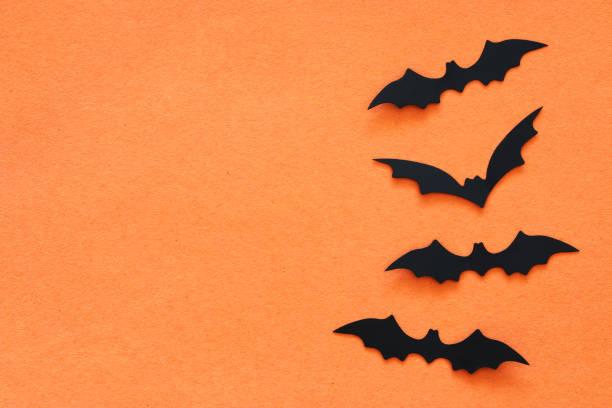 halloween ferienkonzept. schwarze fledermäuse über orange hintergrund. ansicht von oben flach legen. - halloween party einladungen stock-fotos und bilder