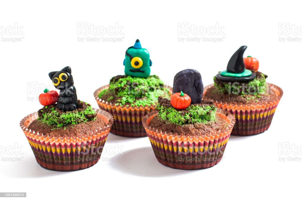 Fondant Halloween Decorations.Halloween Holiday Food Colorful Fancy Brownies Cupcake With Fondant Decorate On White Background Stock Photo Download Image Now Istock