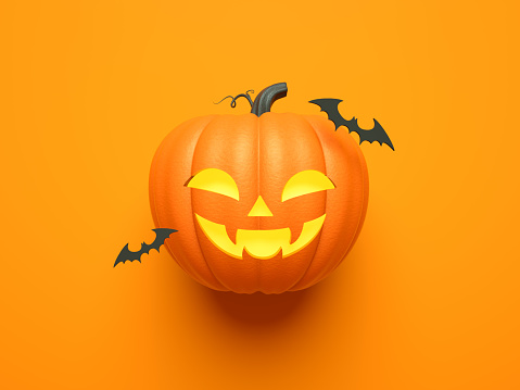 Halloween home decorations with bat and pumpkin for trick or treat. 3d render