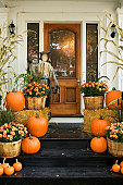 A photo of a house decorated for Halloween