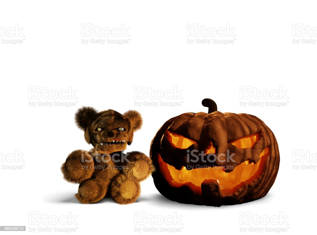 halloween horror evil pumpkin and teddy horror bear 3d rendering isolated royalty-free stock photo
