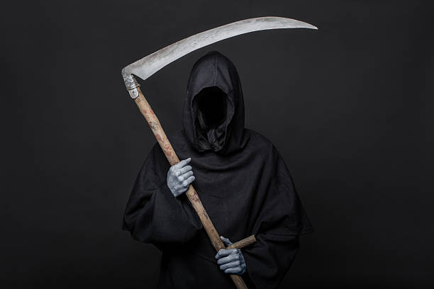 halloween image of the death reaper on a black background - död fysisk beskrivning bildbanksfoton och bilder