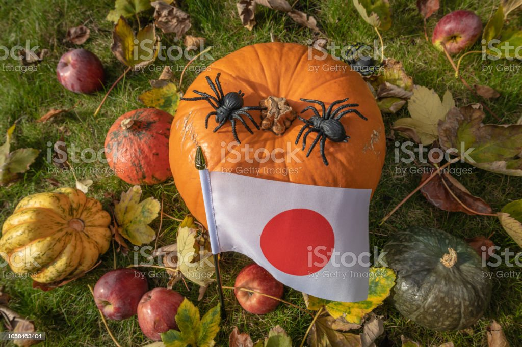 Halloween in Japan with a flag and pumpkin stock photo