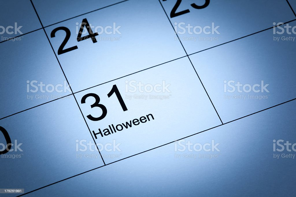 Halloween in the calendar royalty-free stock photo