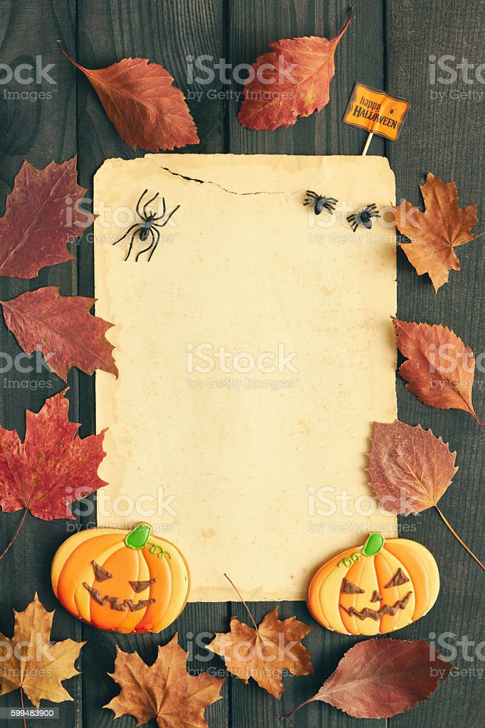 Halloween Invitation Over Wooden Background Royalty Free Stock Photo