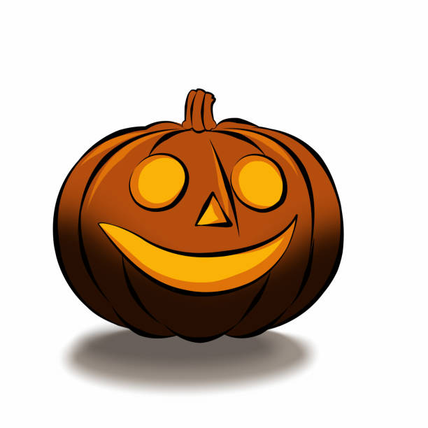 Halloween is isolated with a terrible pumpkin in a cartoon style on a white background stock photo