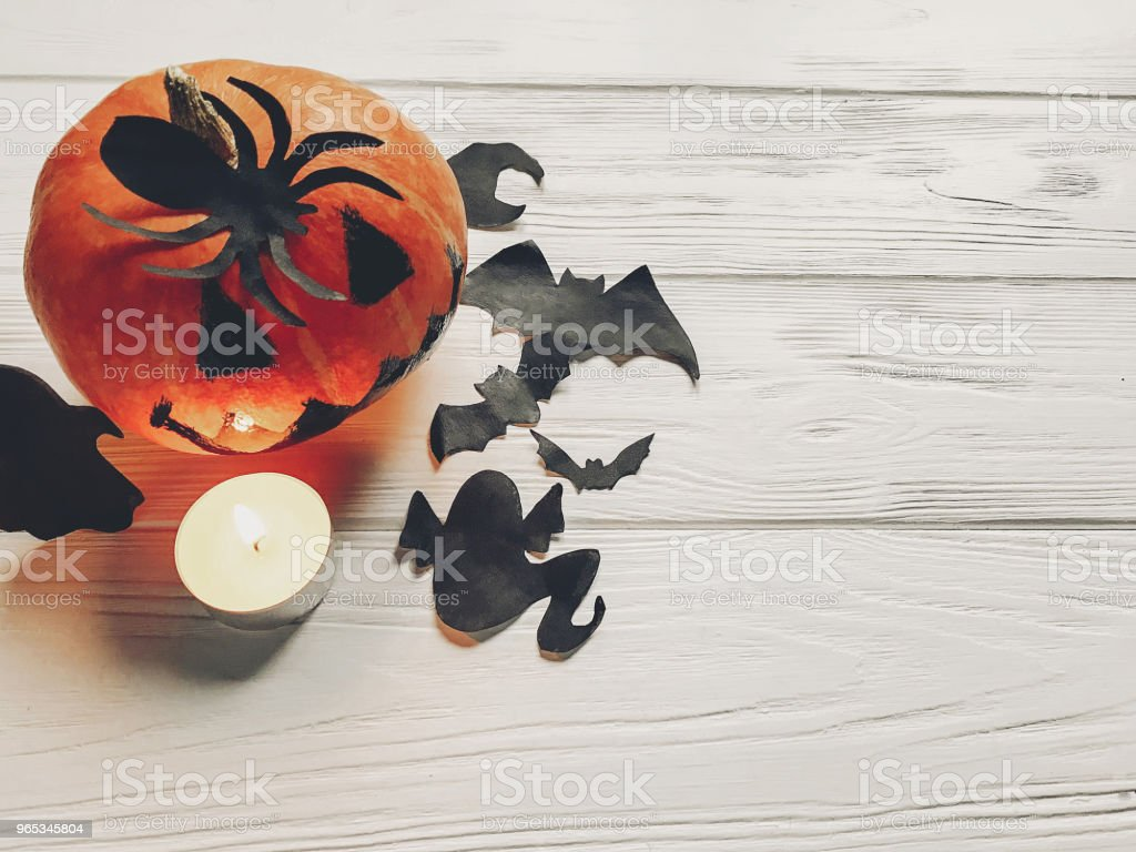 halloween. jack lantern pumpkin with witch ghost bats and spider black decorations on white wooden background top view. seasonal greetings. happy halloween concept, holiday celebration royalty-free stock photo