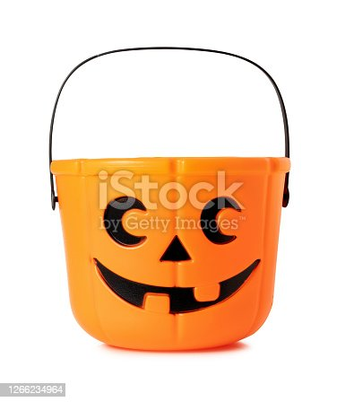 Halloween Jack o Lantern bucket with clipping path.