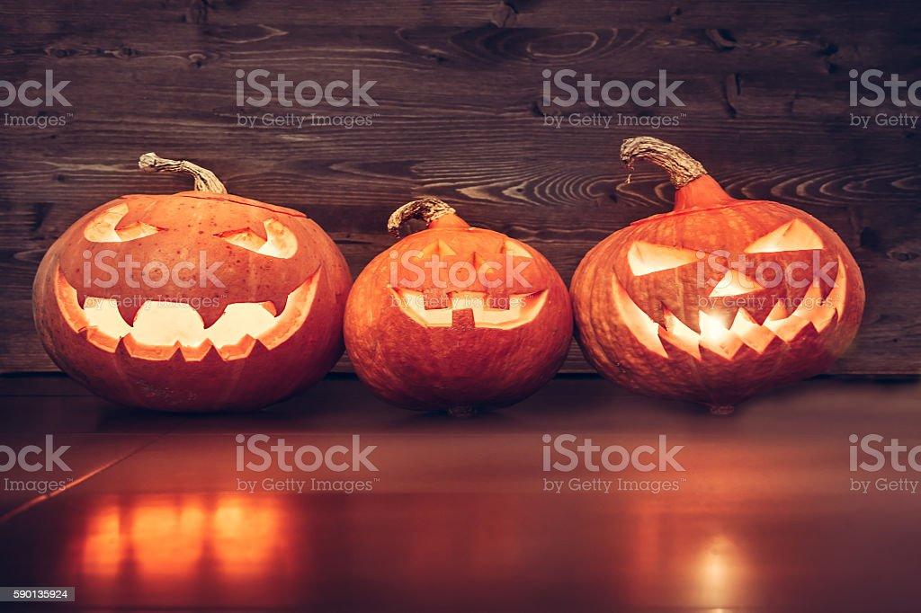 Halloween Jack O' lantern family portrait stock photo