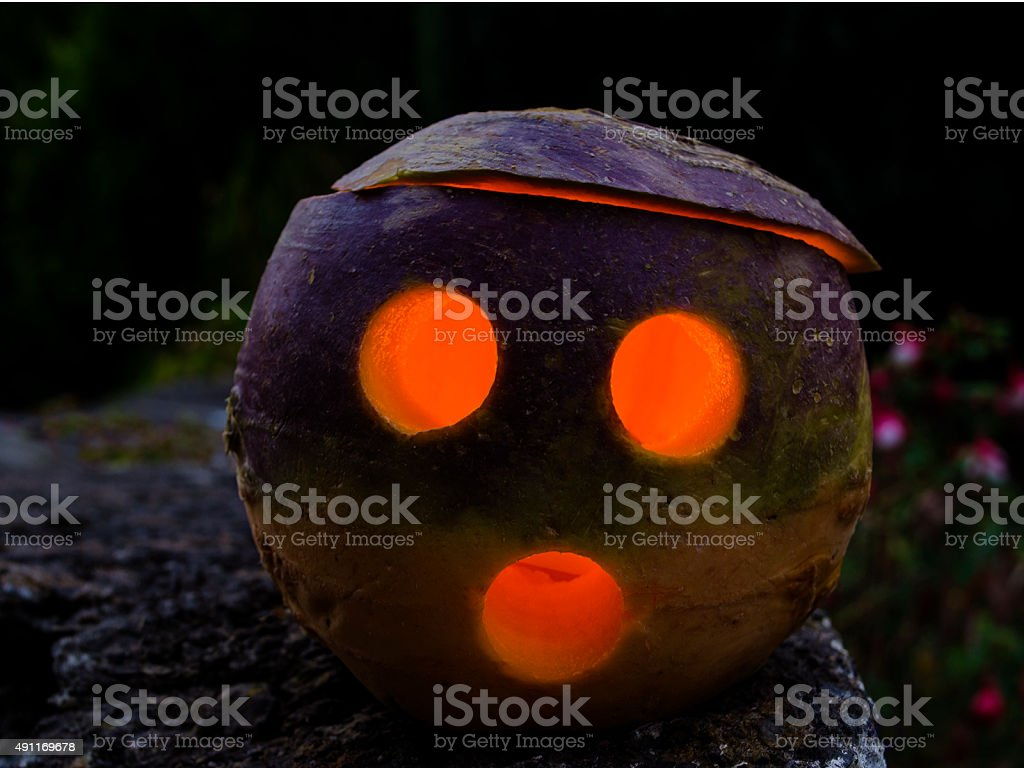 Hallowe'en Jack O' Lantern Turnip stock photo