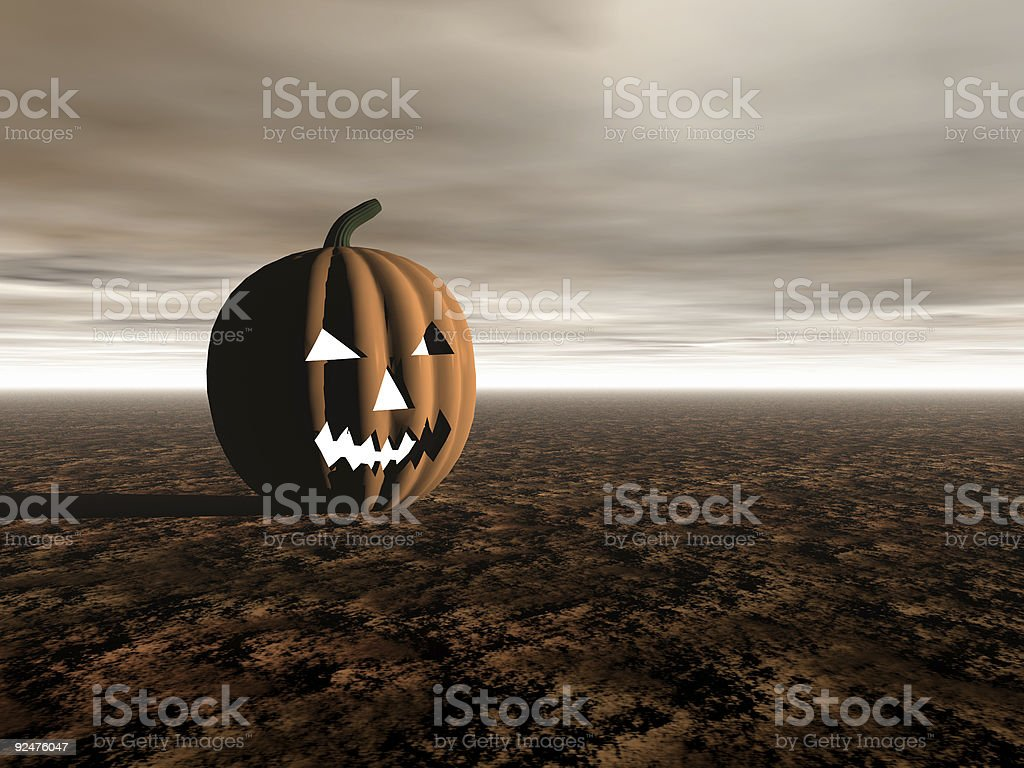 Halloween jack-o-lantern in landscape royalty-free stock photo