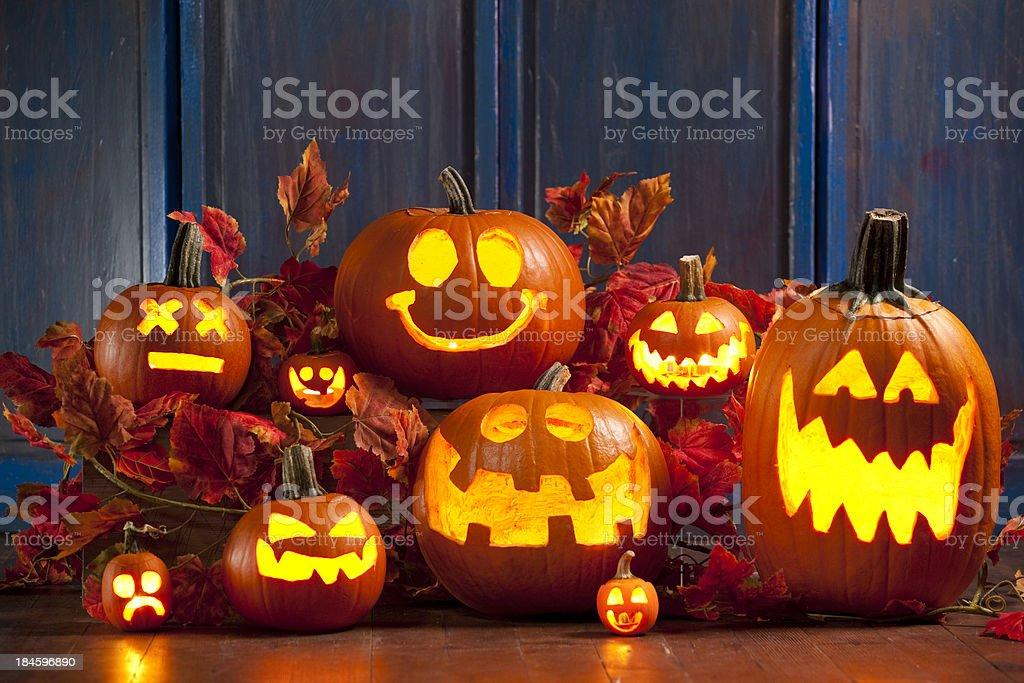 Halloween Jack-o-Lantern Pumpkins royalty-free stock photo
