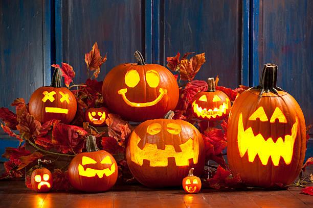 할로윈 잭볼-o-lantern pumpkins - 조롱박과 식물 뉴스 사진 이미지