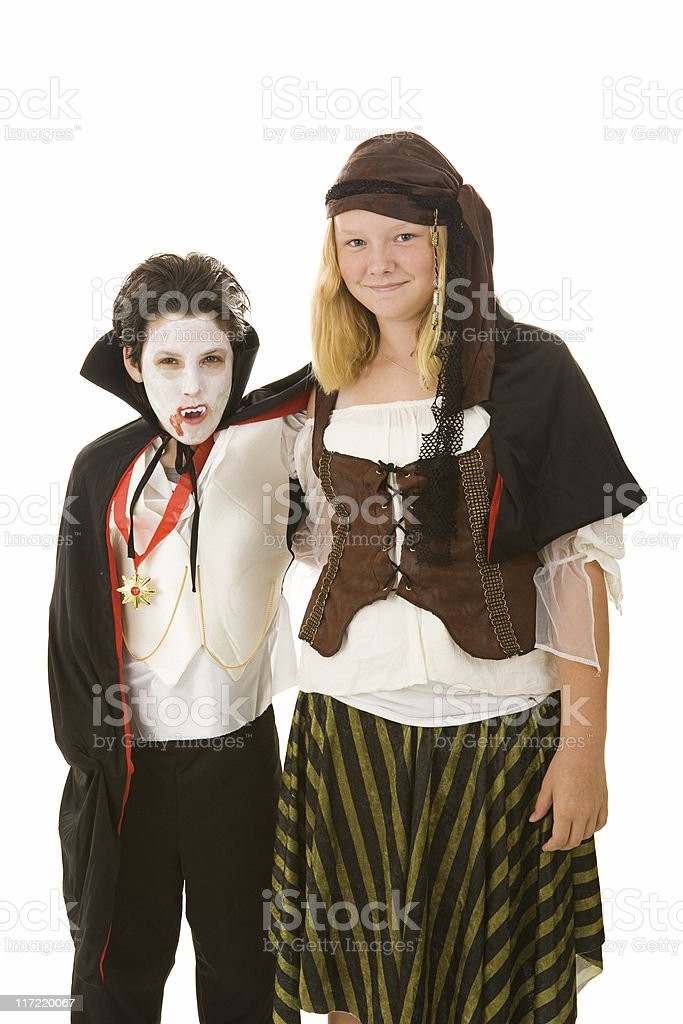 Halloween Kids - Brother and Sister royalty-free stock photo