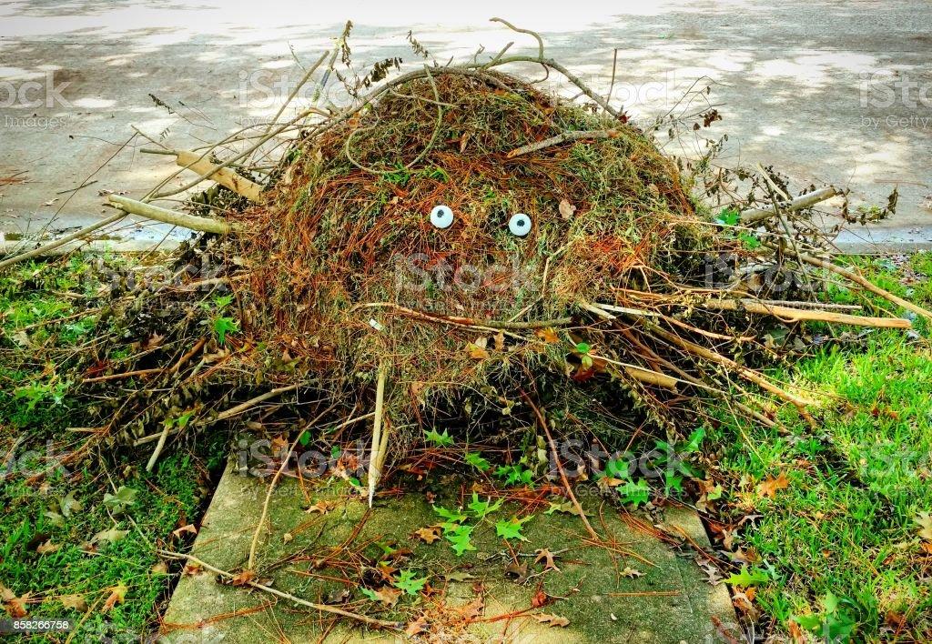 Halloween Lawn Debris Monster stock photo