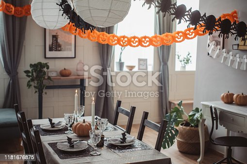 Dining room prepared for Halloween lunch