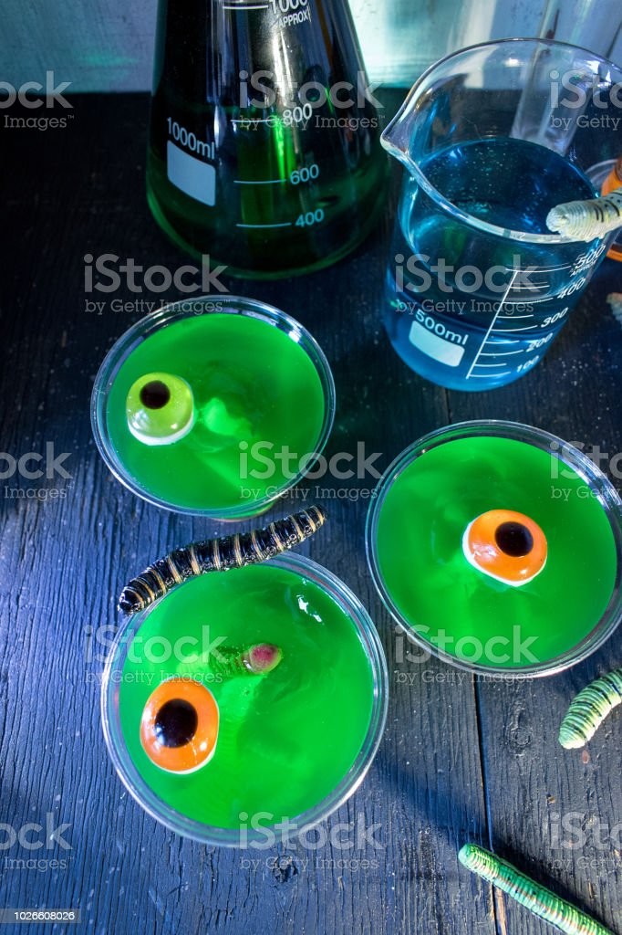 Halloween Mad Scientist Treats Of Green Jello Stock Photo More