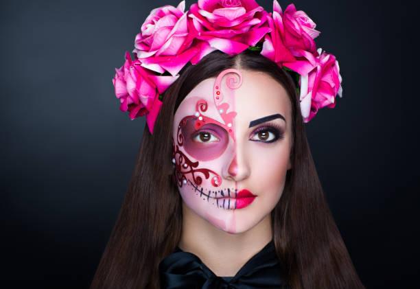 halloween make-up - tattoo ideen stock-fotos und bilder