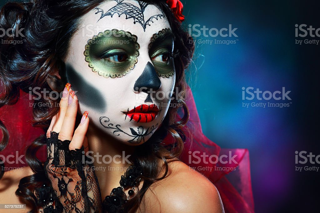 halloween make up sugar skull stock photo