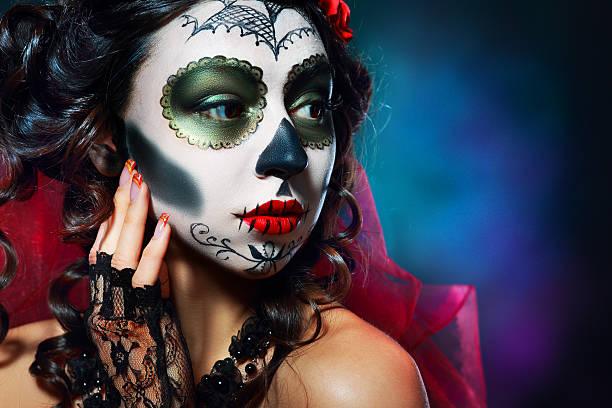 halloween-make-up sugar skull - plants of zombies stock-fotos und bilder