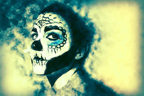 halloween make up sugar skull santa muerte concept. - weihnachten de stock-fotos und bilder