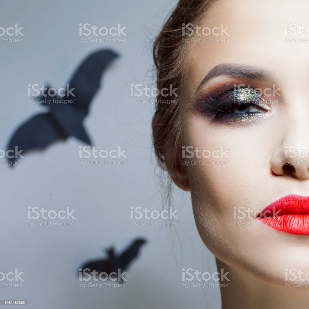 Halloween Makeup Bright And Stylish Girl With Red Lips And Smokey Eyes Makeup Stock Photo Download Image Now Istock