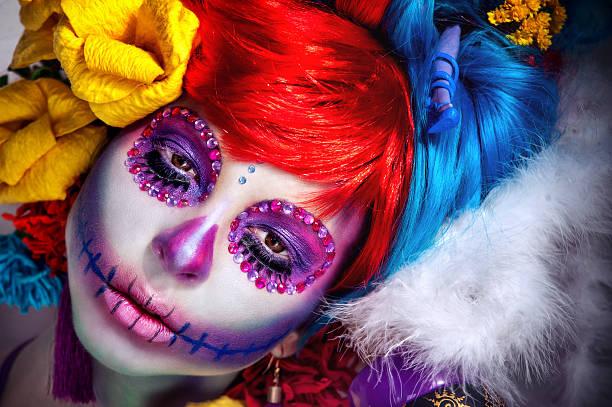 halloween-make-up-zucker-schädel wunderschöne - teufel schminken stock-fotos und bilder