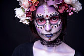 Halloween Model close-up with Rhinestones and Wreath of Flowers
