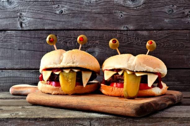 Halloween monster hamburgers against old wood picture id841994476?b=1&k=6&m=841994476&s=612x612&w=0&h=xndbcqe97bl39 syafqmhcdhk3qnjbvl69ikgiq efi=