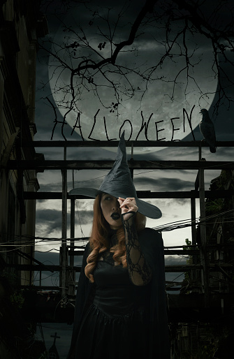 Scary halloween witch standing over damaged old wooden bridge, bird, dead tree, full moon with spooky cloudy sky, Halloween mystery concept