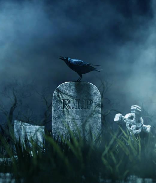 Halloween night Crow on a gravestone in halloween night,3d illustration