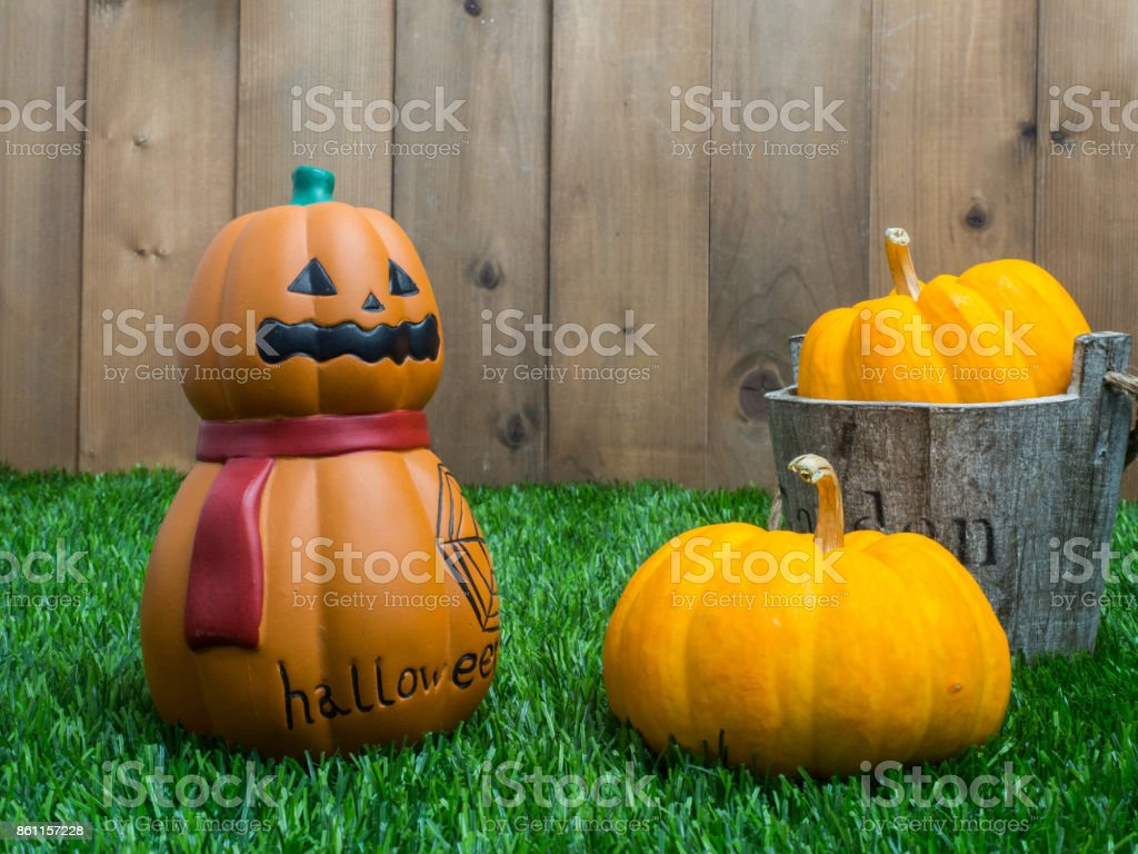 halloween object concept with wooden background.top view ,flat lay composition. stock photo
