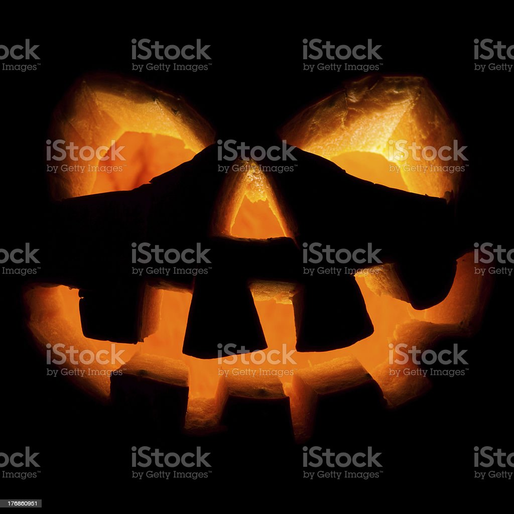 halloween, old jack-o-lantern on black royalty-free stock photo