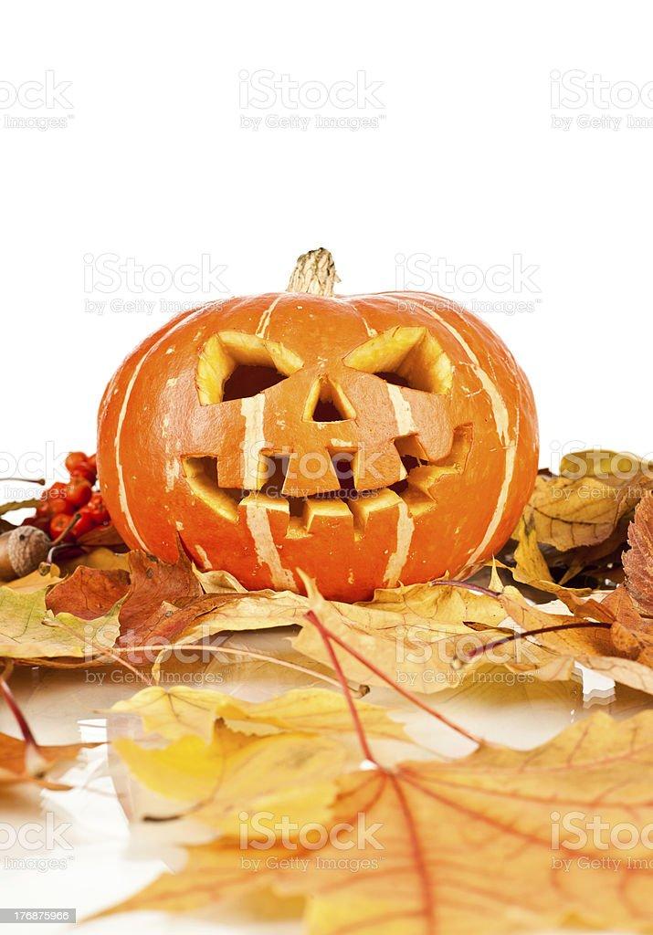 halloween, old jack-o-lantern on white royalty-free stock photo