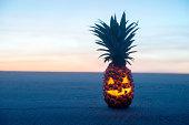 Halloween on Beach. Pinapple jack o lantern
