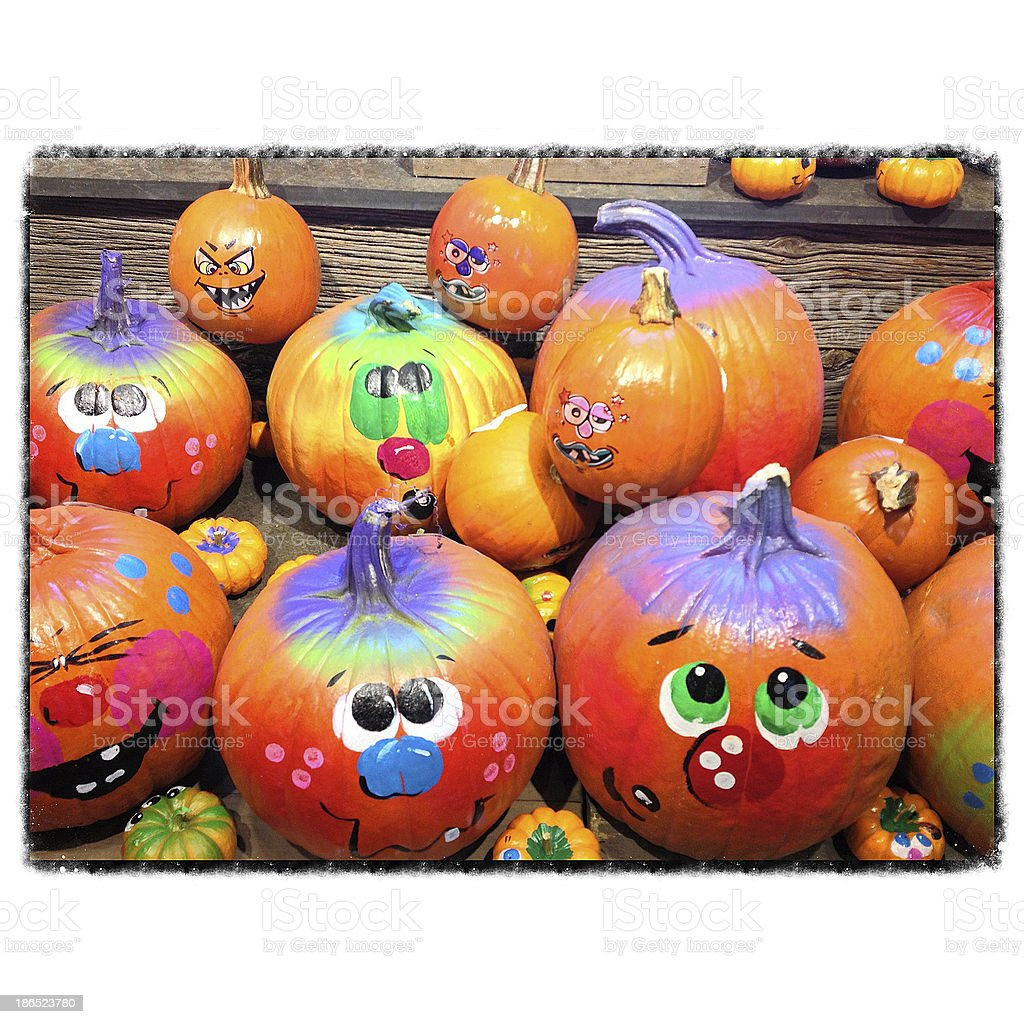 Halloween Painted Pumpkins royalty-free stock photo