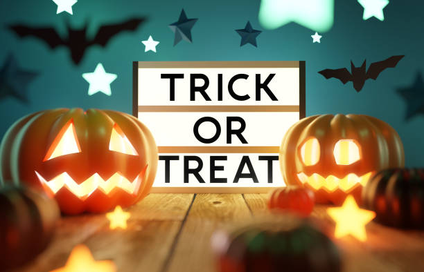 Halloween Party Decorations and Lights stock photo