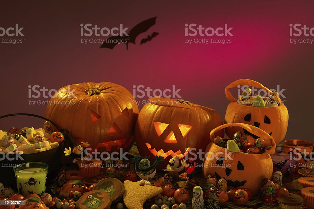 Halloween party decorations with carved pumpkins stock photo
