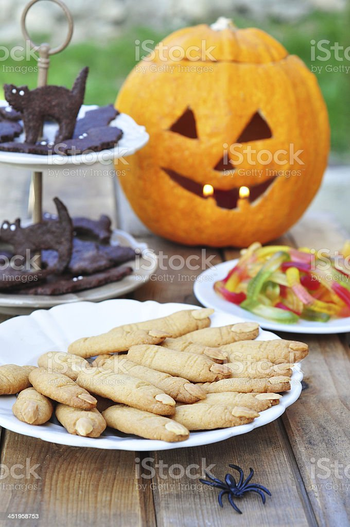 Halloween party table stock photo
