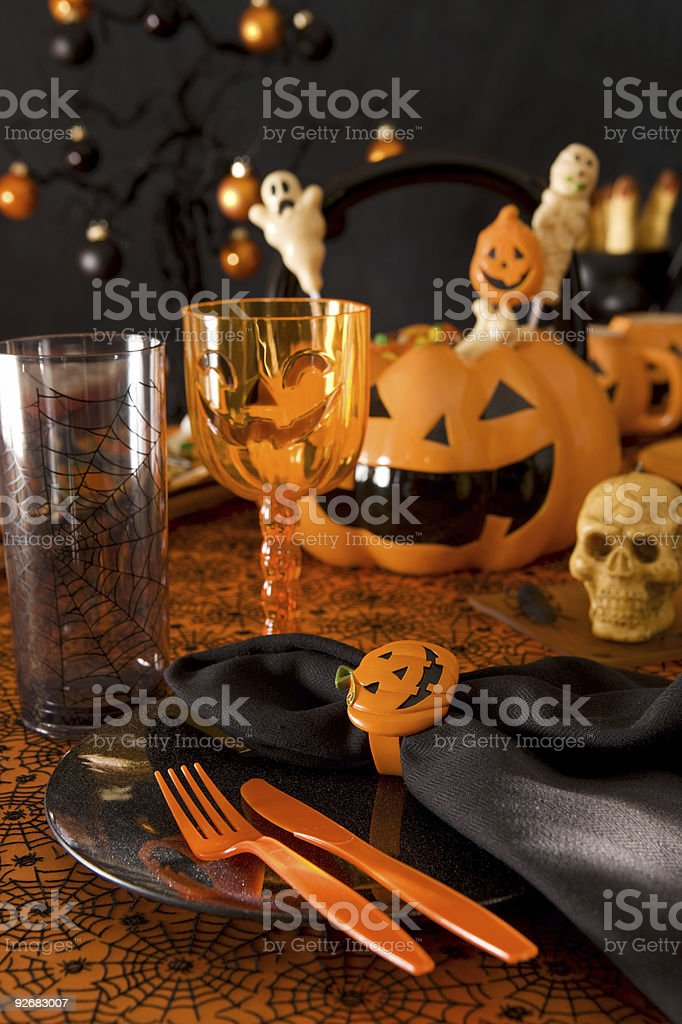 Halloween place setting royalty-free stock photo