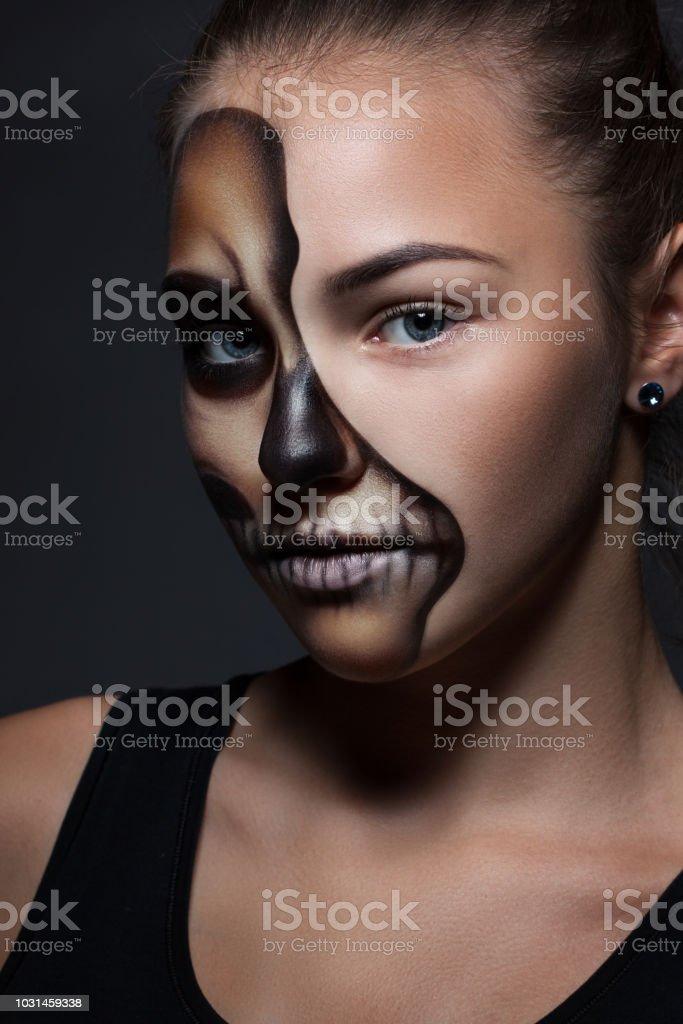 Halloween Porträt Eines Jungen Schönen Mädchens Mit Einem