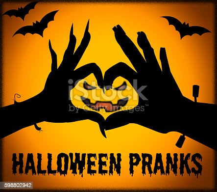 Halloween Pranks Representing Trick Or Treat And Frolic Hoax