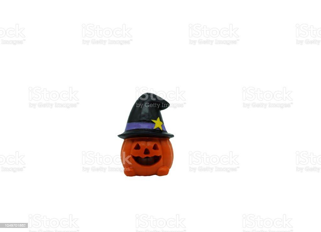 halloween pumkin doll in white background stock photo