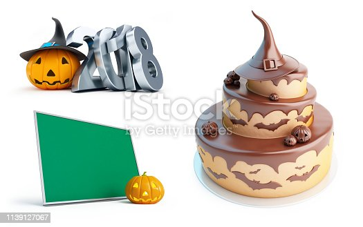 istock Halloween pumpkin 2018, Halloween cake on a white background 3D illustration, 3D rendering 1139127067