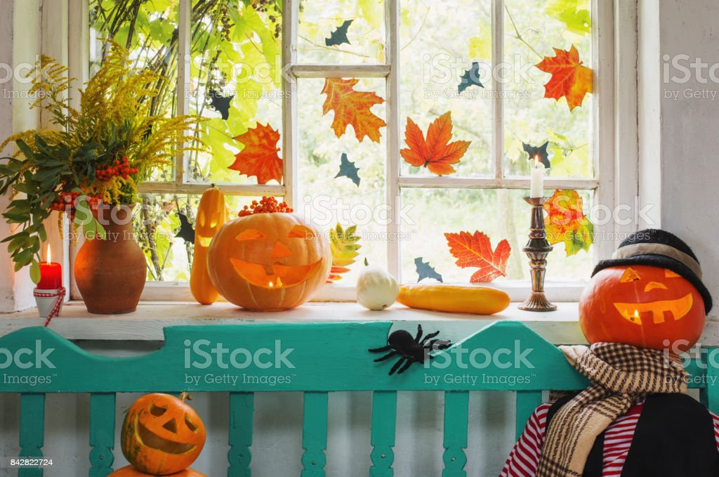 halloween pumpkin and decoration indoor stock photo