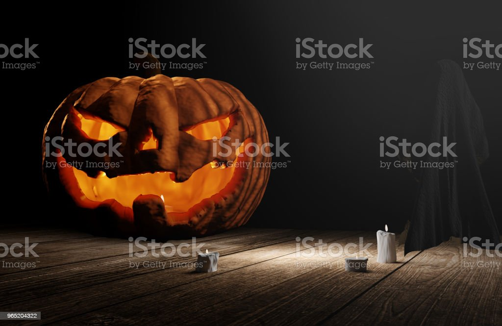 halloween pumpkin and unidentified 3d rendering royalty-free stock photo